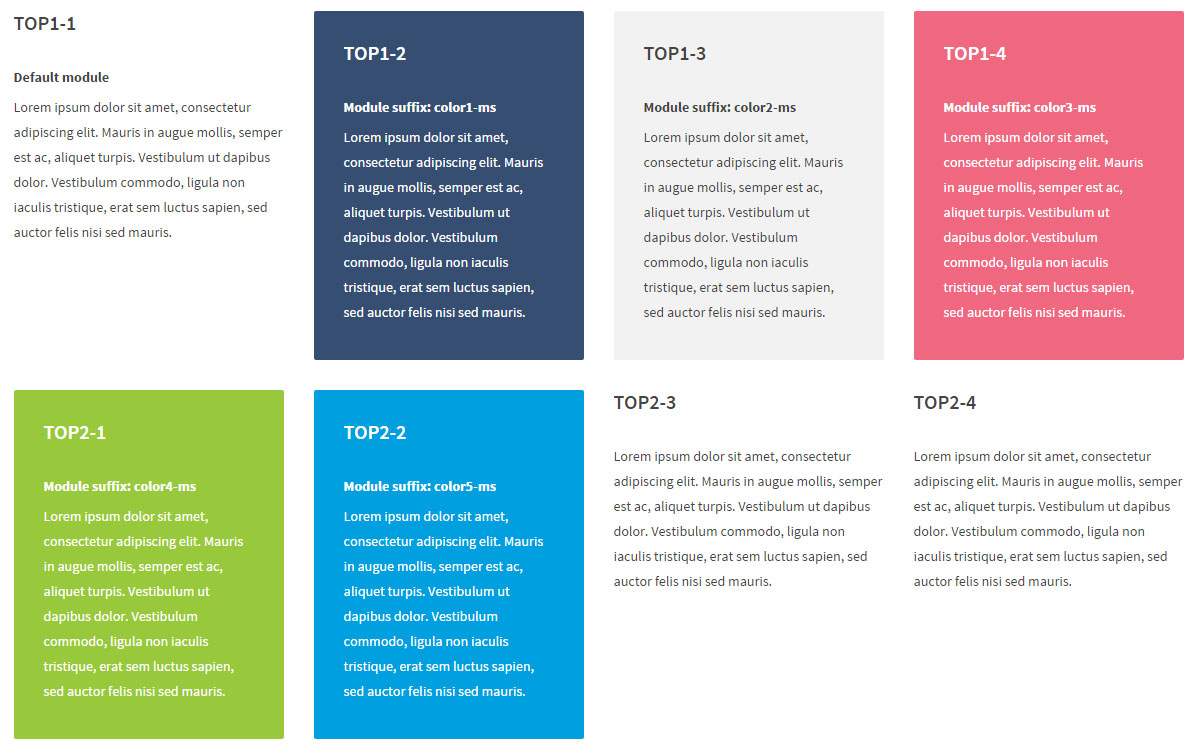 Accessibility ready joomla school template module suffixes for Joomla templates with sample data