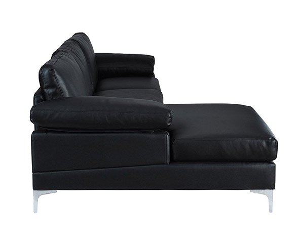 Modern Large Faux Leather Sectional Sofa, L-Shape Couch with Extra Wide  Chaise Lounge (Black)