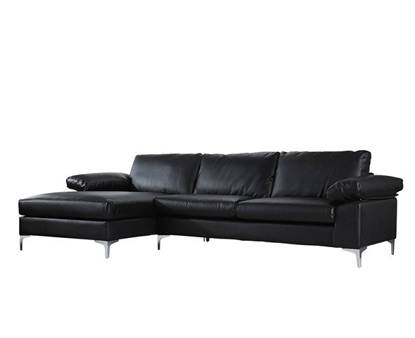 Modern Large Faux Leather Sectional Sofa L Shape Couch With Extra Wide Chaise Lounge Black